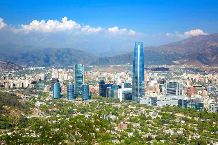 View of Santiago, Chile on a summer day