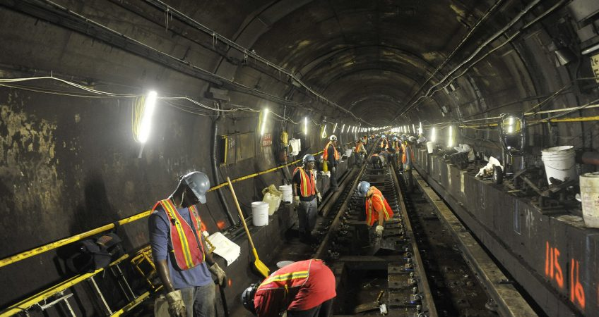 A metro station under maintenance