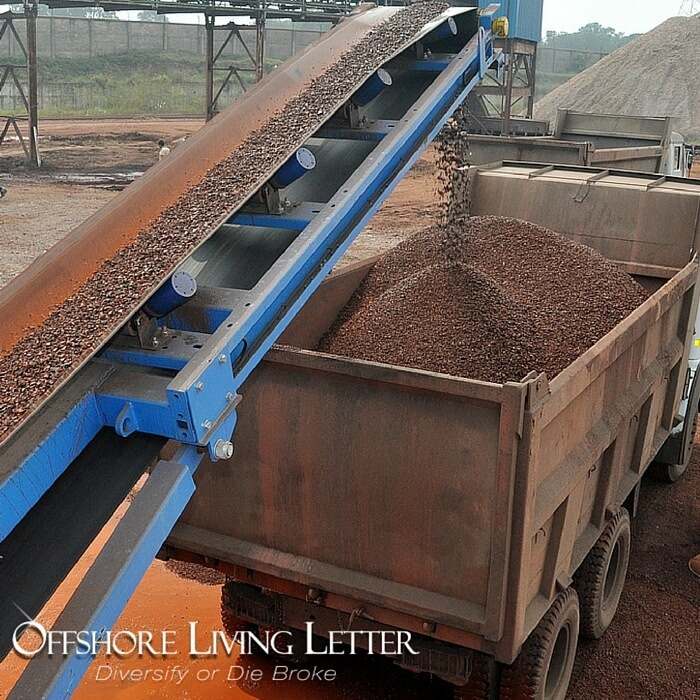 Rare Earth Metals in China going from conveyer into truck