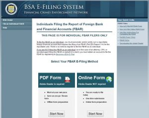 FBAR Form U.S. Department of Treasury