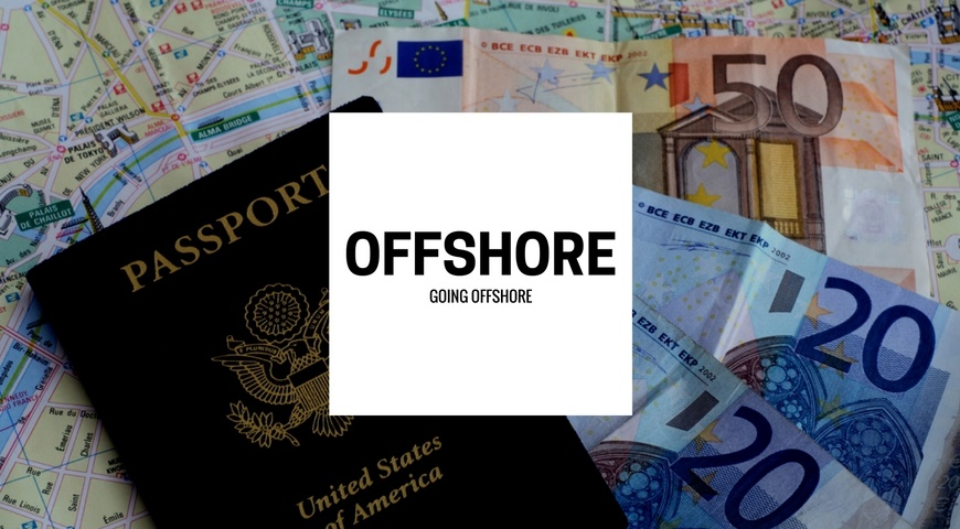 Going offshore surrounded by a map, euros, and a passport.