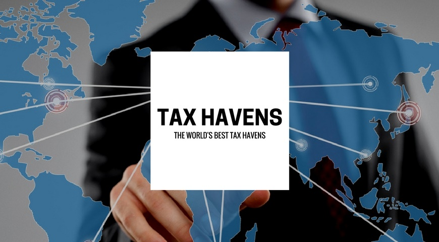 A man showing the top tax havens on a map.