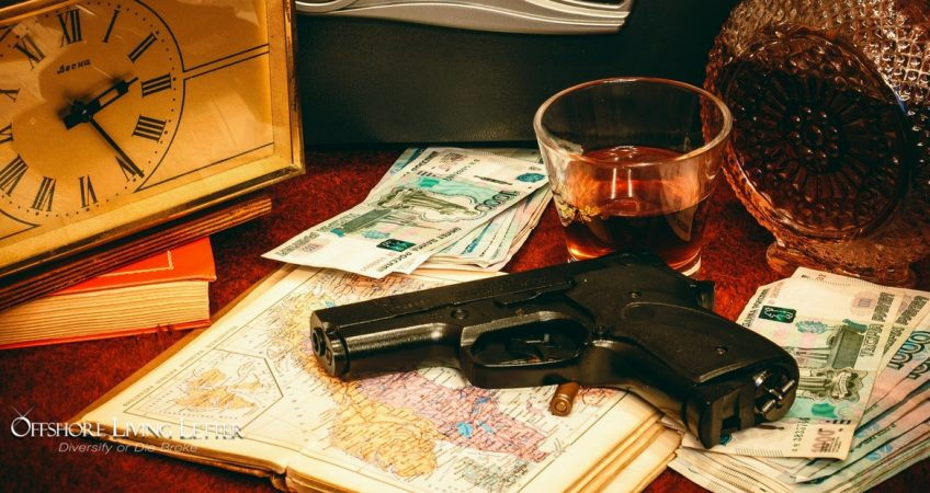 Buying And Owning A Gun In Panama Vs The Dominican Republic, a table with a clock, euros, a shot of whiskey and a handgun