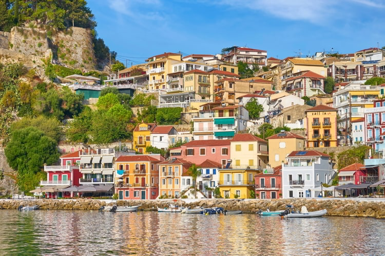 Colorful painted houses at Parga resort, Greece.