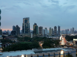 A view of downtown Panama City at sunset