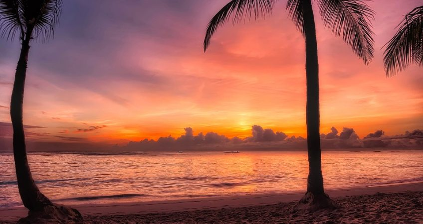 dominican republic sunrise. color gradient sky from orange to purple, palm trees and sand. A look at the ocean sunrise.