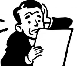 Black and white cartoon of a stressed man reading a sheet of paper.