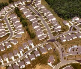 view form the air of a surburban housing estate in cincinnati