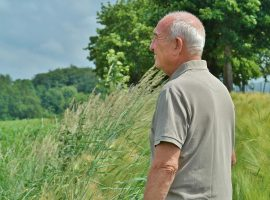 happy looking senior man looks out into the distance in beautiful green countryside