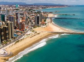 An aerial view of the Fortaleza beachfront