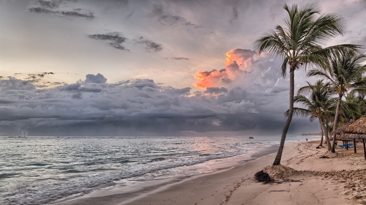 A beach during sunset in The Dominican Republic