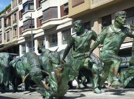 Bull Run Statue in Pamplona, Spain