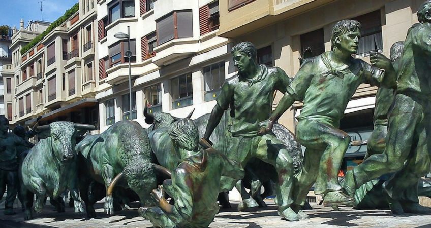 Bull Run Statue in Pamplona, Spain
