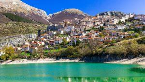 Lago di Barrea town by the water, Abruzzo Italy