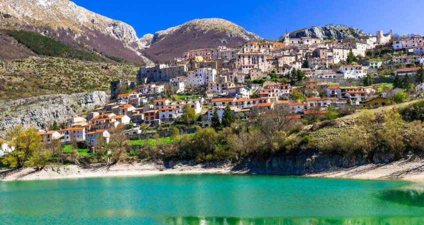Lago di Barrea town by the water, Abruzzo Italy