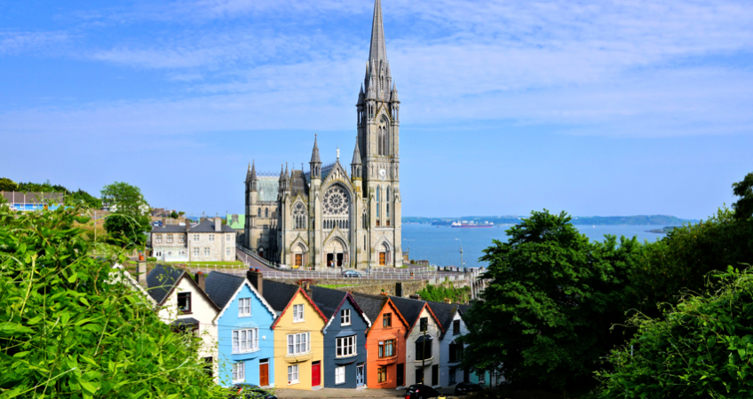 church and colorful houses, cobh ireland