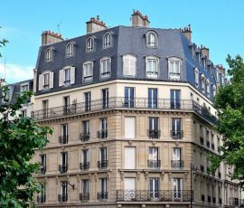 a typical apartment building in Paris, France
