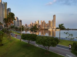 panama City downtown at sunset