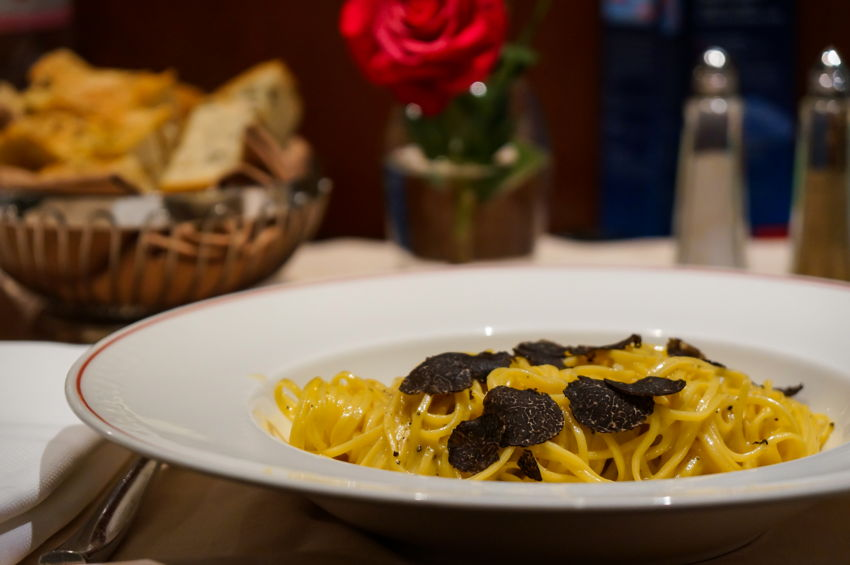 A pasta dish with truffles
