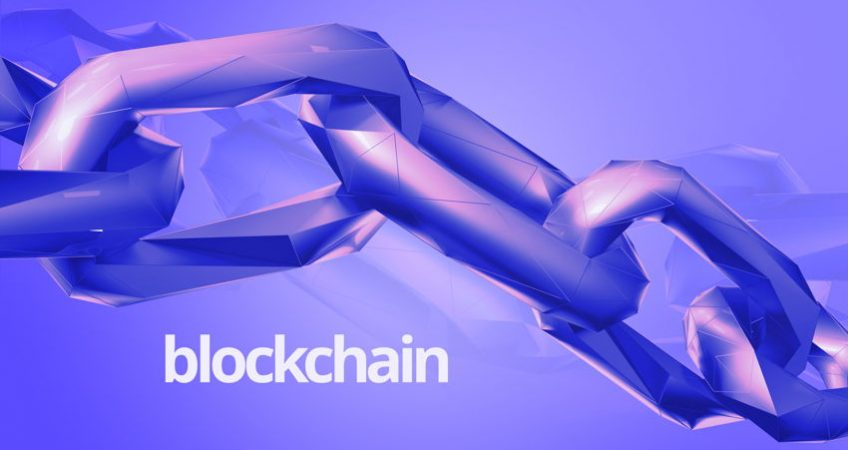 """A purple chain with text that reads """"blockchain"""""""