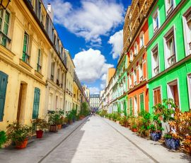 A colorful Paris street in the summer time