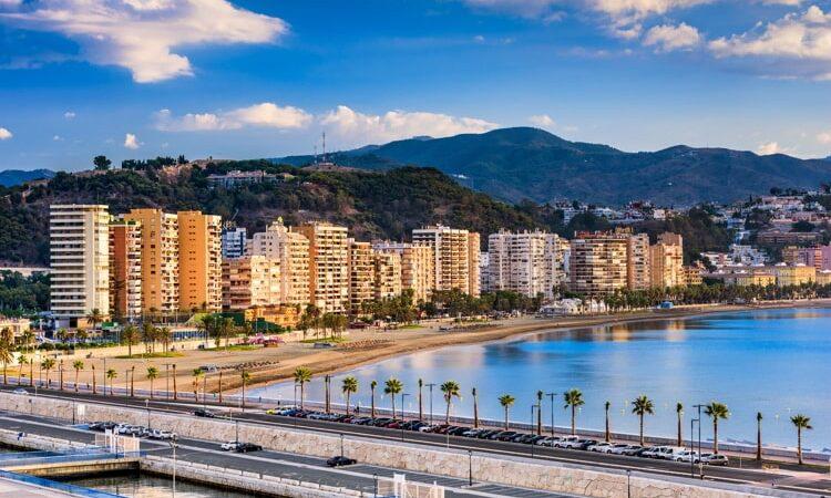 Malaga, Spain resort skyline at Malagueta Beach