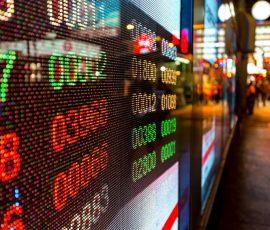 Stock market display board in hong kong