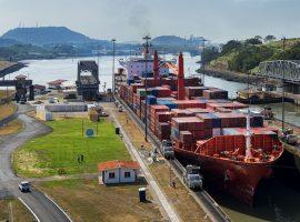 big ship passing through the panama canal
