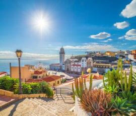 Seaside town overseas sunny day in Spain