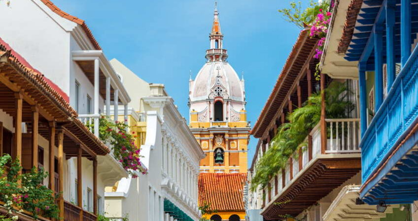 Cartagena balconies colonial houses cathedral