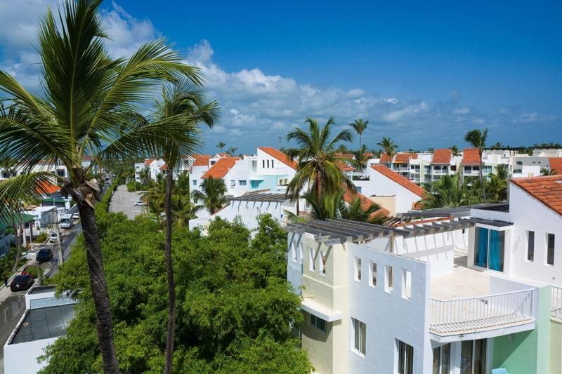 Aerial view of Caribbean tourist resort, Punta Cana, Dominican Republic.