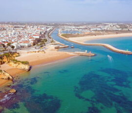 lagos in portugal, aerial view of town