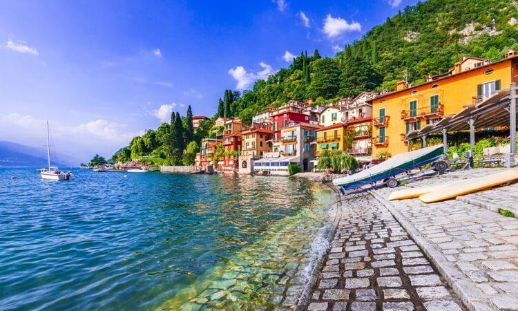 Beautiful village Lago coastline in Lombardy, Italy.
