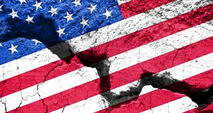 us flag with cracks through it concept art