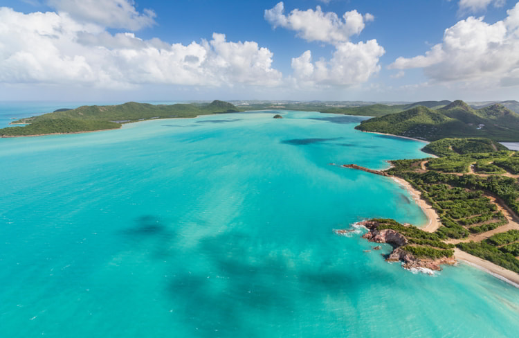 Aerial view of the turquoise Caribbean sea Antigua and Barbuda
