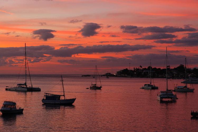 Sunset over ocean on Dominica