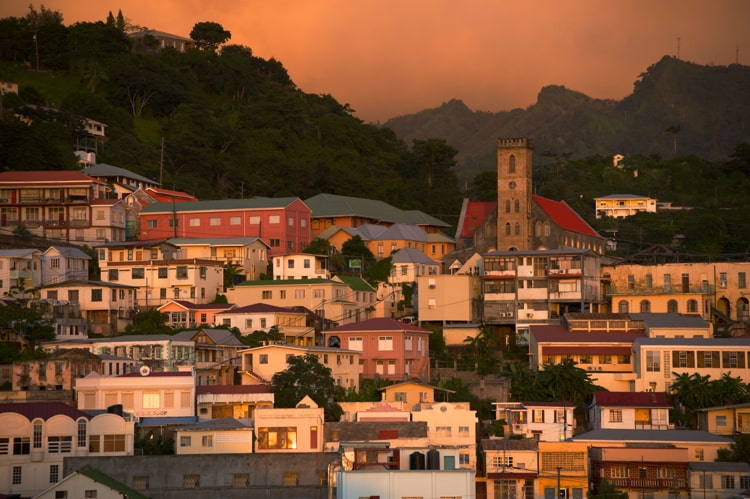 Dusk over the harbour of St Georges, Grenada