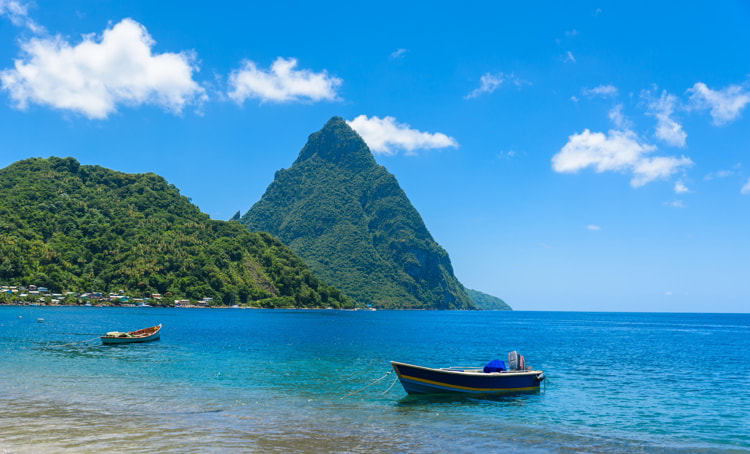 Paradise beach at Soufriere Bay in Saint Lucia