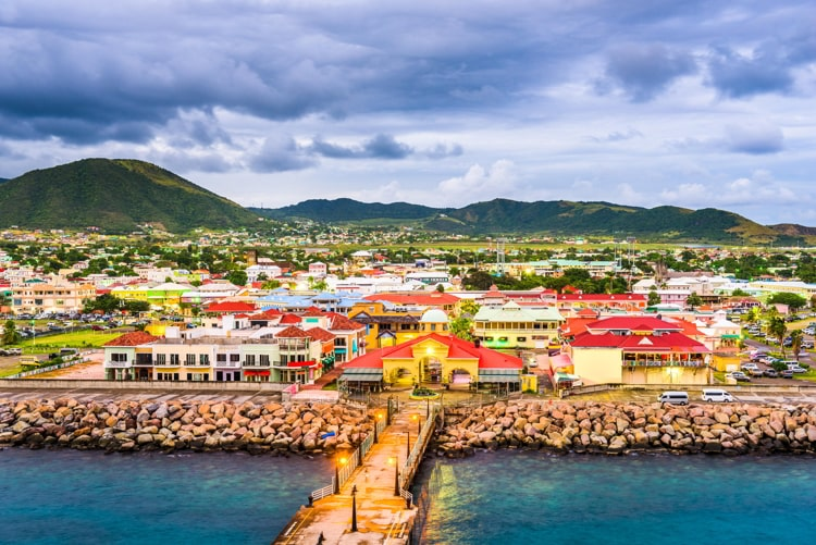 St. Kitts and Nevis town skyline at the port.