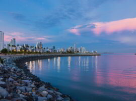 Skyline of Panama City at blue hour.