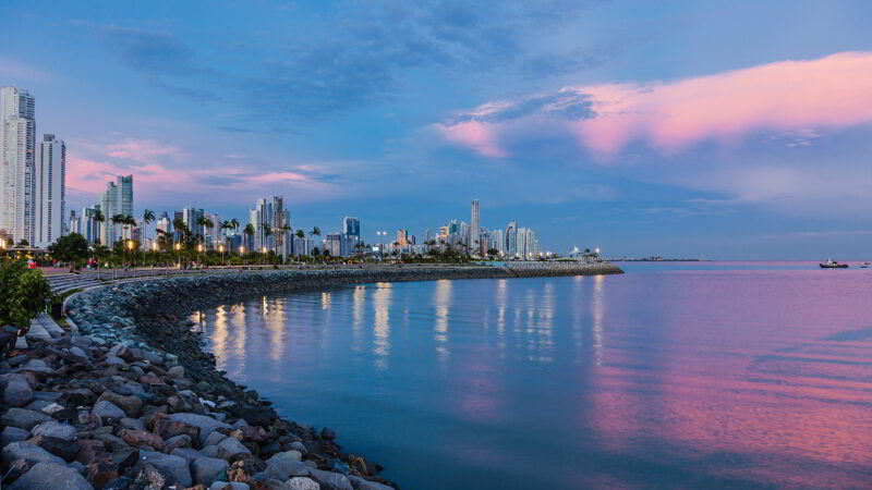 Skyline of Panama City at blue hour.