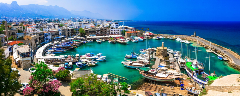 Beautiful Kyrenia village, panoramic view, Northern Cyprus.