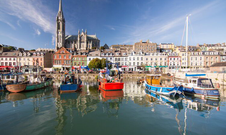 St Colman's Cathedral rises above the terraced streets and colorful fishing boats of the small tourist city of Cobh on Cork Harbour.