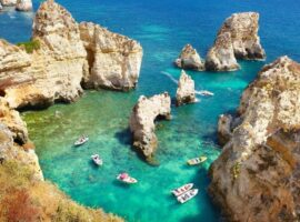 Algarve coast Ponta da Piedade near Lagos, Portugal.