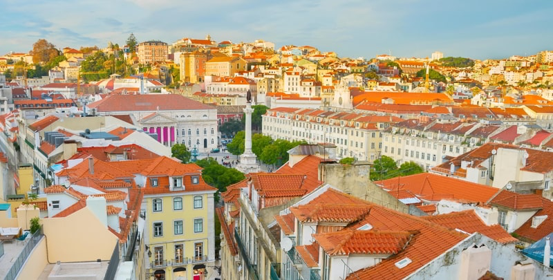 Aerial cityscape of Lisbon, Portugal.