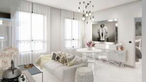 Living room of luxury apartment in Calle 50, Panama City, Panama