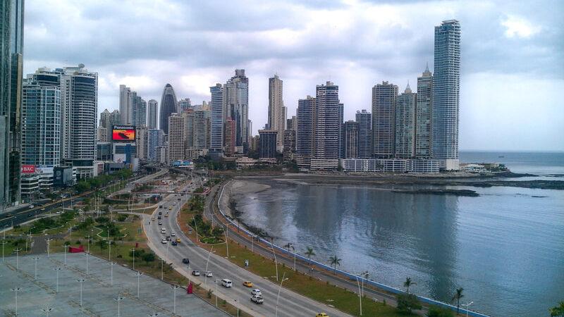 Panama City skyline on a cloudy afternoon.