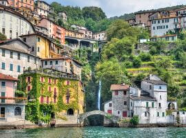 Colorful houses and a bridge in Lake Como, Lombardy, Italy.
