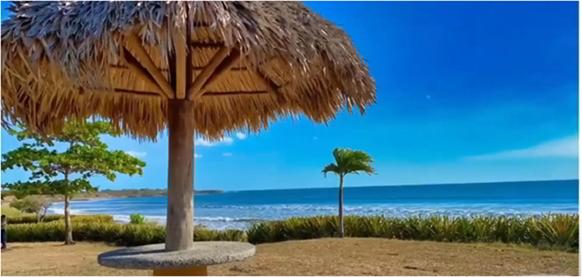 A Nicaragua beach with beautiful blue skies