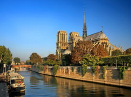 The Notre Dame Cathedral on the Seine river, Paris, France
